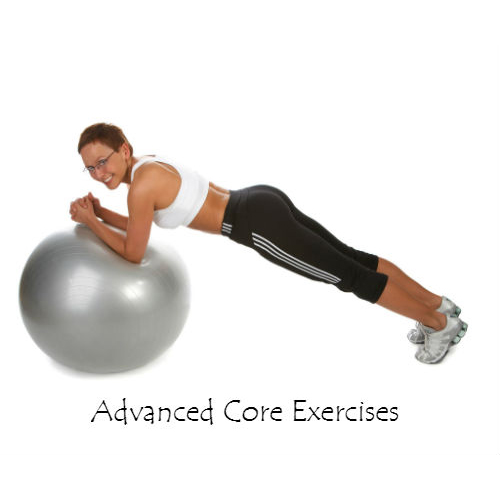 Woman using excercise ball for core exercises