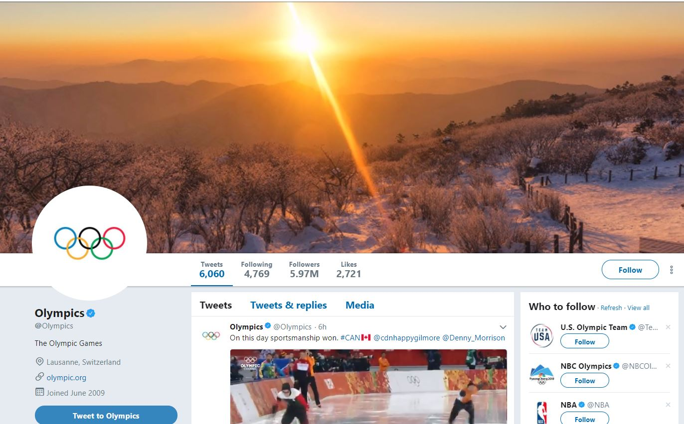 2018 Winter Olympics Updates Twitter